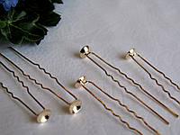 Шпилька с основой для декора золотая  Длина 6, 5 см Диаметр основы 0,8 см Цена 2,75 грн, фото 1
