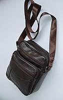 Мужская кожаная сумка через плечо коричневого цвета