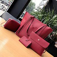 Женские сумки красные в наборе + мини сумочка + клатч  4в1 опт