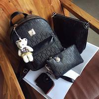 Женский рюкзак + сумочка и клатч набор черный экокожа опт, фото 1