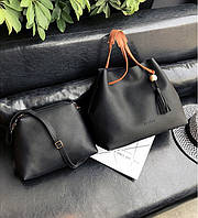 Женская большая и маленькая сумка набор черный опт, фото 1