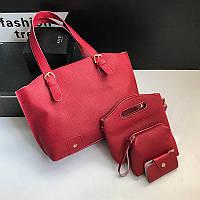 Женская сумка в наборе + мини сумочка красная 4в1 опт, фото 1