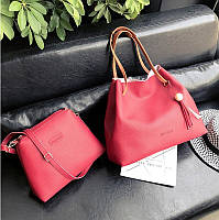 Женская большая сумка + маленькая набор красный опт, фото 1
