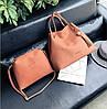 Женская большая и маленькая сумочка набор рыжий опт