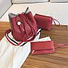 Жіноча сумка з пензликом червона набір 3в1 опт