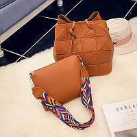 Женская сумка набор + мини сумочка рыжий опт, фото 1