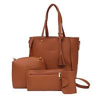 Сумка женская набор 4в1 + мини сумочка + кошелек рыжий опт, фото 1
