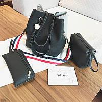 Женская сумка с кисточкой двуцветная набор 3в1 опт, фото 1