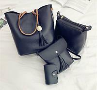 Набор женских сумок в черном цвете 1 опт, фото 1
