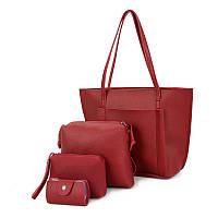 Женская сумка большая. Набор в красном цвете 650 опт, фото 1
