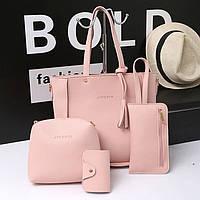Набор женских сумок цвет розовый 1520 опт, фото 1
