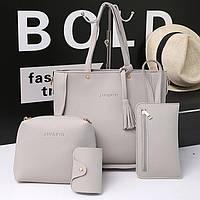 Набор женских сумок серого цвета 1515 опт