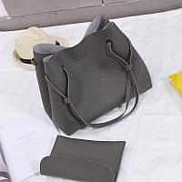 Женская большая сумка + клатч темно серый опт, фото 1