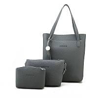 Женская сумка в наборе 3в1 + мини сумочка и клатч темно-серый опт, фото 1
