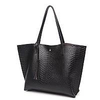 Женская сумочка классическая большая черная с кисточкой опт, фото 1
