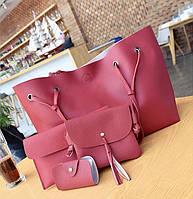 Женская сумка большая, маленькая сумочка, клатч и визитница набор красный опт, фото 1