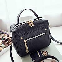 Женская сумочка черная с молниями опт, фото 1