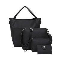 Женская сумка набор 4в1 + мини сумочка и косметичка черный опт, фото 1