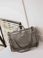 Женская сумка круглая с ручками и ремешком серая опт, фото 1