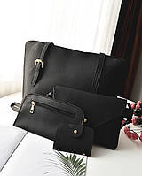 Женская сумка набор 4в1 + мини сумочка и кошелек черный опт, фото 1