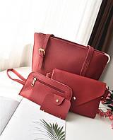 Женская сумка набор 4в1 + мини сумочка и кошелек красный опт, фото 1