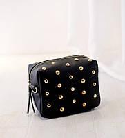 Жіноча сумочка маленька чорна з заклепками опт
