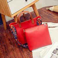 Женская сумка большая + маленькая сумочка набор красный опт, фото 1