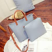 Женская сумка большая + маленькая сумочка набор голубой опт, фото 1