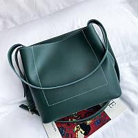 Женская сумка с ручками зеленая большая опт