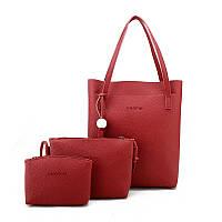 Женская сумка в наборе 3в1 + мини сумочка и клатч красный опт, фото 1