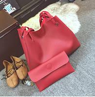 Женская большая сумка и клатч набор красный опт, фото 1