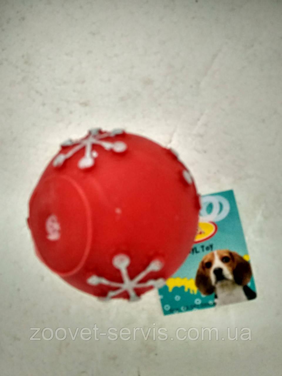 Игрушка для собак мяч Снежинки 7,5 см020DI