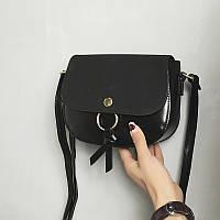 Женская сумочка черная через плече на кнопке опт, фото 1
