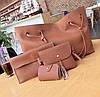 Женская сумка большая, маленькая сумочка, клатч и визитница набор рыжий опт