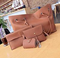 Женская сумка большая, маленькая сумочка, клатч и визитница набор рыжий опт, фото 1