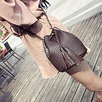 Женская сумочка мешочек с кисточками коричневая опт, фото 1