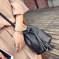 Жіноча чорна сумочка мішок маленька на зав'язках опт