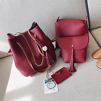 Женские сумки с кисточкой набор красный 4в1 опт, фото 1