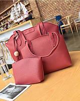 Женская сумка, маленькая сумочка и кошелек набор красный опт, фото 1