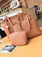 Женская сумка, маленькая сумочка и кошелек набор рыжий опт, фото 1