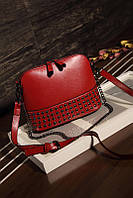 Женская сумка маленькая красная с заклепками опт, фото 1
