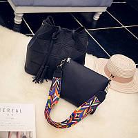 Женская сумка + маленькая сумочка набор черный опт, фото 1