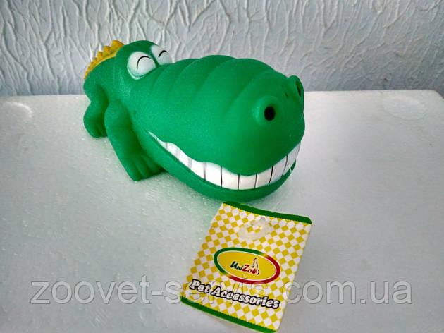 Игрушка крокодил смеющийся виниловый для собак, с пищалкой, 17x9 см, фото 2