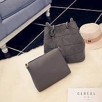 Женская сумка + маленькая сумочка набор темно серый опт, фото 1