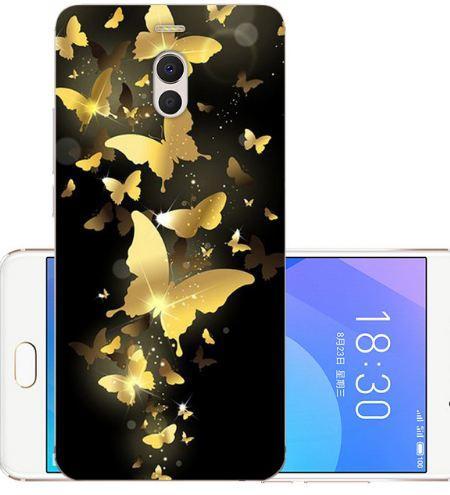 Чехол бампер силиконовый для Meizu M6 Note с картинкой Золотые бабочки