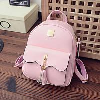 Женский рюкзак розовый с кошелечком из качественной экокожи, фото 1