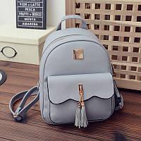 Женский рюкзак стильный серый с кошелечком из экокожи, фото 1