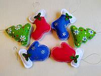 Новогодние игрушки из фетра для зимнего декора 6 шт