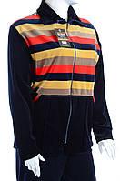 Велюровый женский спортивный костюм широкая цветная полоска K103