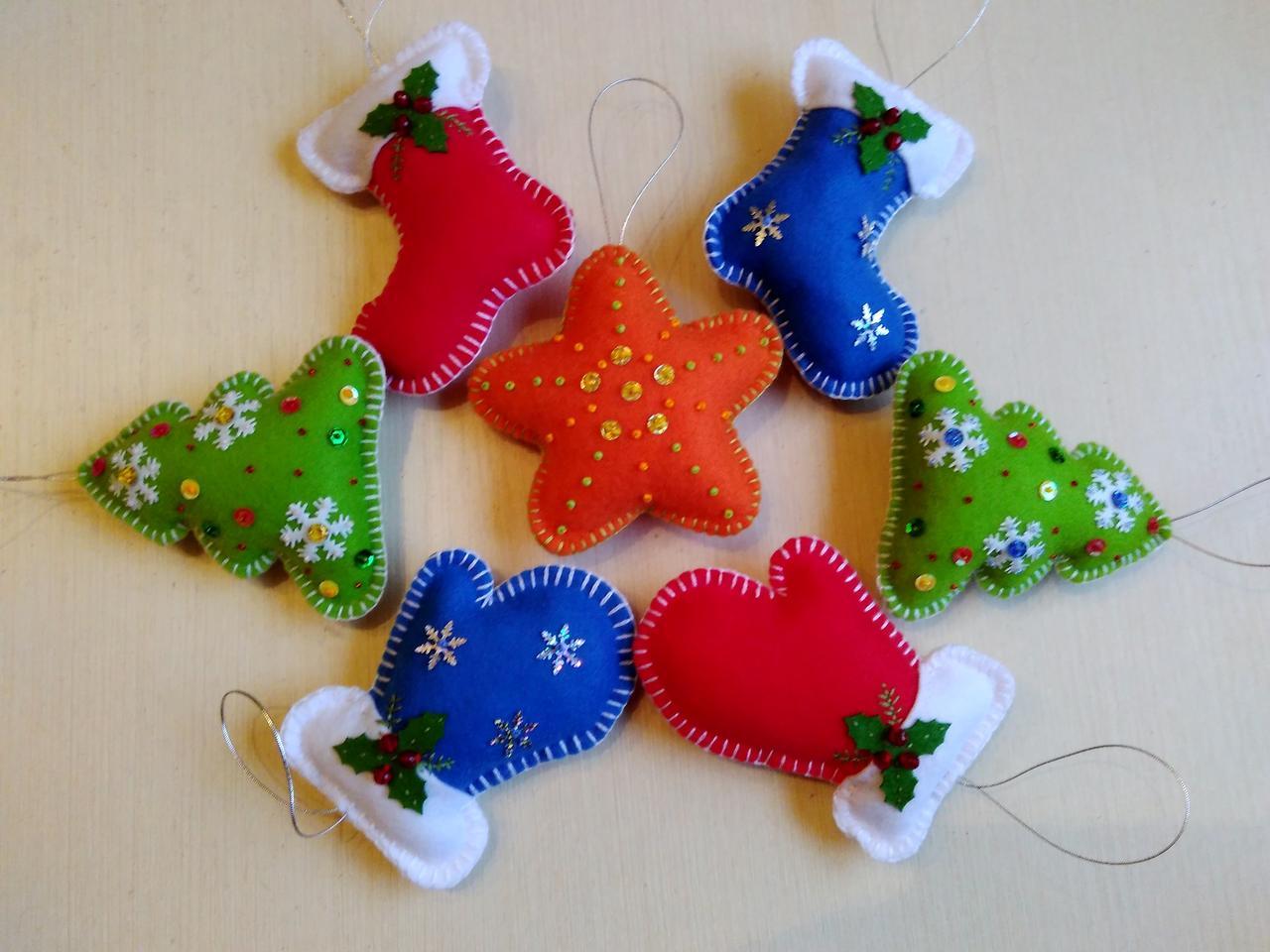 Новогодние игрушки из фетра для зимнего декора 7 шт